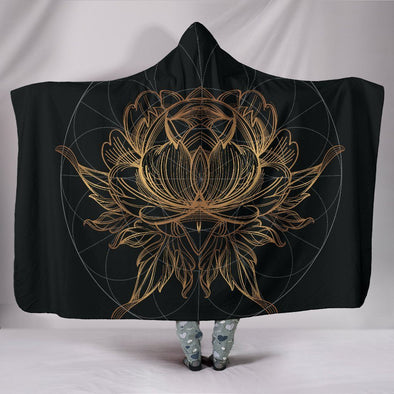 Gold Lotus Fractal Hooded Blanket