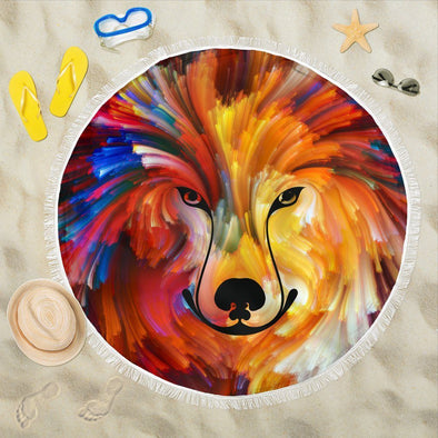 Colorful Wolf Beach Blankets