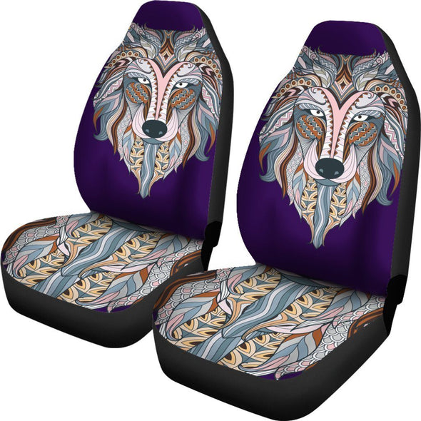 Colorful Zendoodle Wolf Head Car Seat Covers