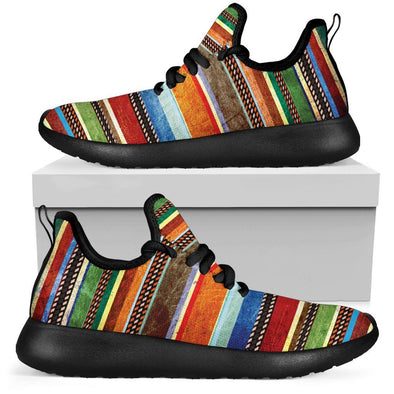 Colorful Stripes Boho Mesh-Knit Sneakers