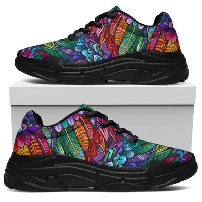 Colorful Feathered Handcrafted Chunky Sneakers