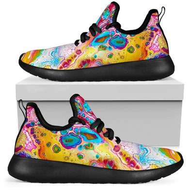 Colorful Abstract Hippie Mesh-Knit Sneakers