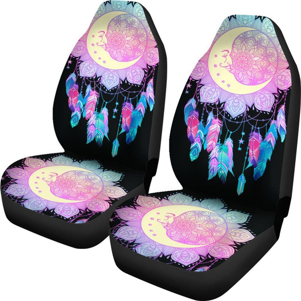 Colorful Moon Fractal Car Seat Covers