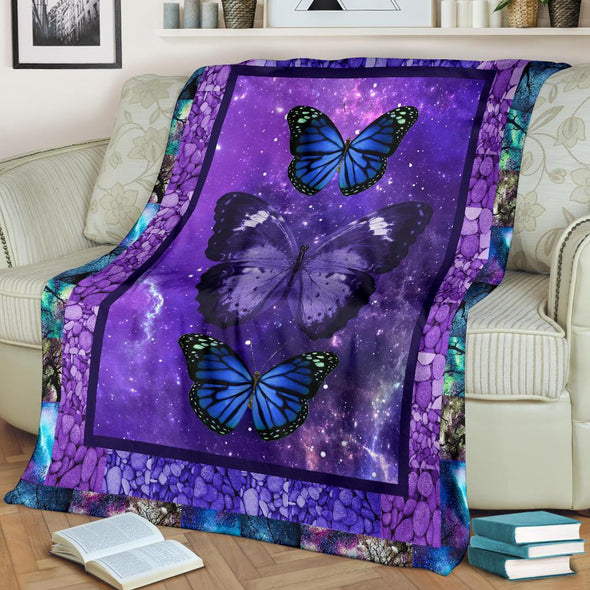 Purple Galaxy Butterfly Blanket