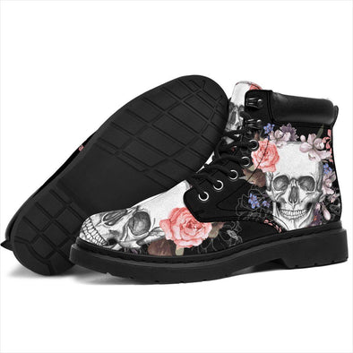 HandCrafted Colorful Skull Flowers ii Performance Boots