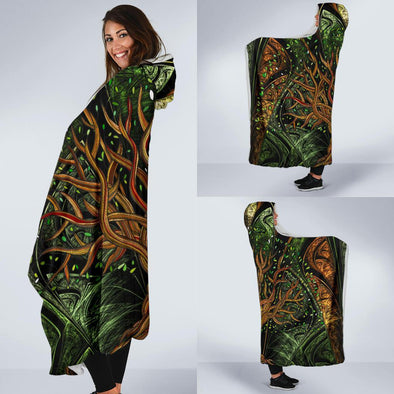 Fractal Tree of Life Hooded Blanket