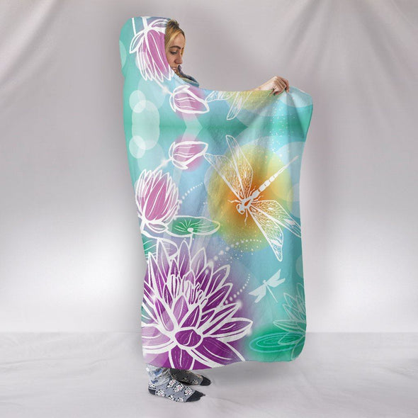 Glowing Magical Lotus Dragonfly Hooded Blanket
