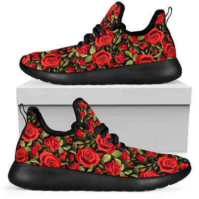 Red Rose Floral Mesh-Knit Sneakers