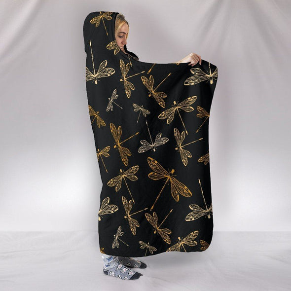 Dragonflies Black Hooded Blanket