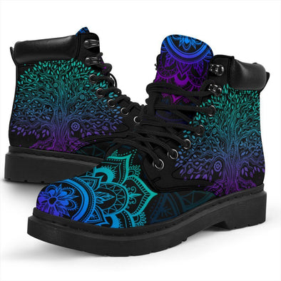 HandCrafted Blue Purple Tree of Life Performance Boots