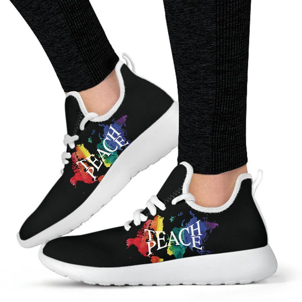Multi-color Teach Peace Mesh-Knit Sneakers