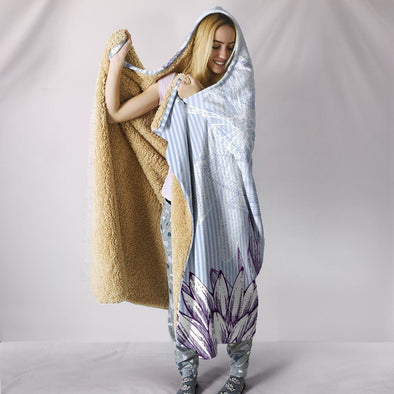 Drawn Lotus Dragonfly Hooded Blanket