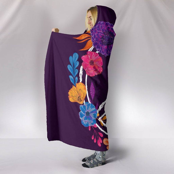 Colorful Peace Hippie Hooded Blanket