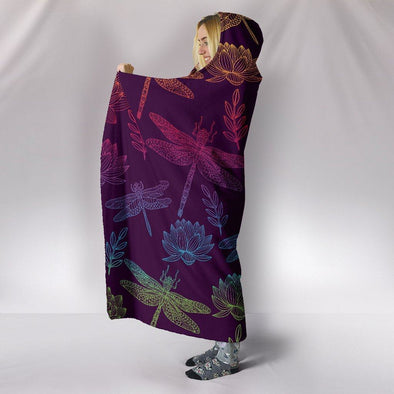 HandCrafted Colorful Lotus Dragonfly Hooded Blanket