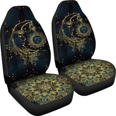 Gold Sun and Moon Car Seat Covers
