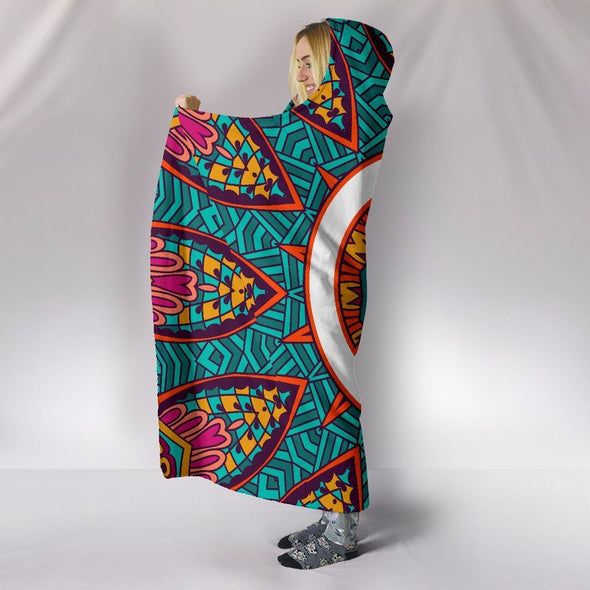 Colorful Peace Fractal Hooded Blanket