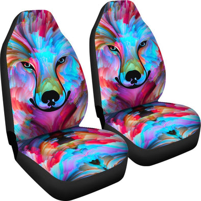 Colorful Wolf Mandala Car Seat Covers