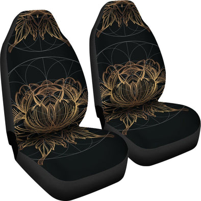 Gold Lotus Fractal Car Seat Covers