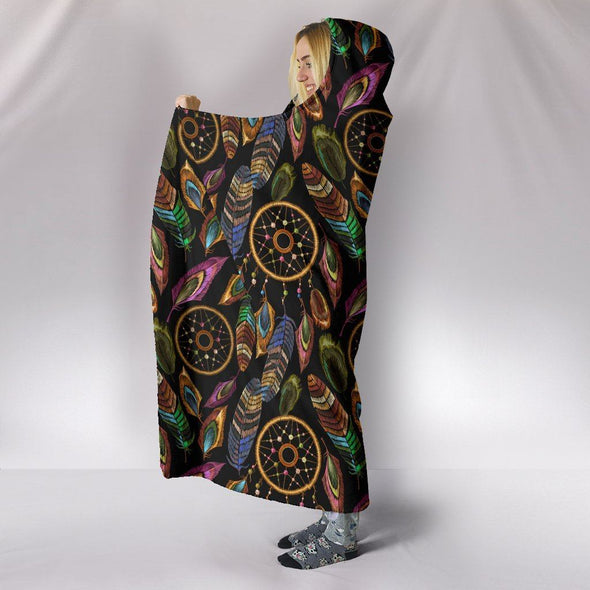 Boho Tribal Dream Catcher Feathers Hooded Blanket
