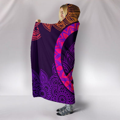 Colorful Peace Mandala Hooded Blanket