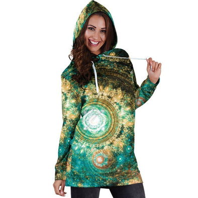Green and Gold Boho Hooded Dress