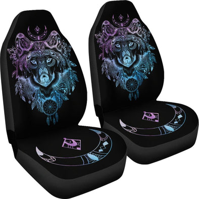 Purple Blue Wolf Head Car Seat Covers