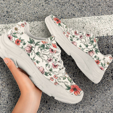 Artistic Flower Handcrafted Chunky Sneakers