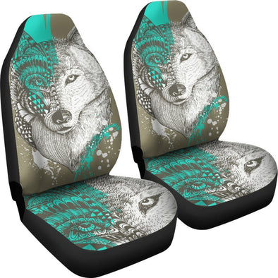 Wolf Head Zentangle Car Seat Covers