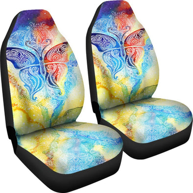 Colorful Butterfly Fractal Car Seat Covers