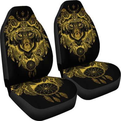 Gold Wolf Head Car Seat Covers