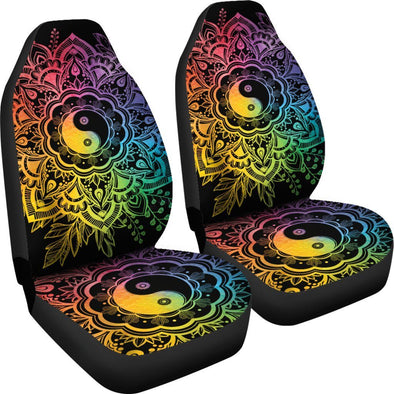 Rainbow Lotus YinYang Car Seat Covers