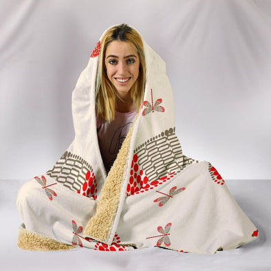 Abstract Pattern Dragonfly Hooded Blanket