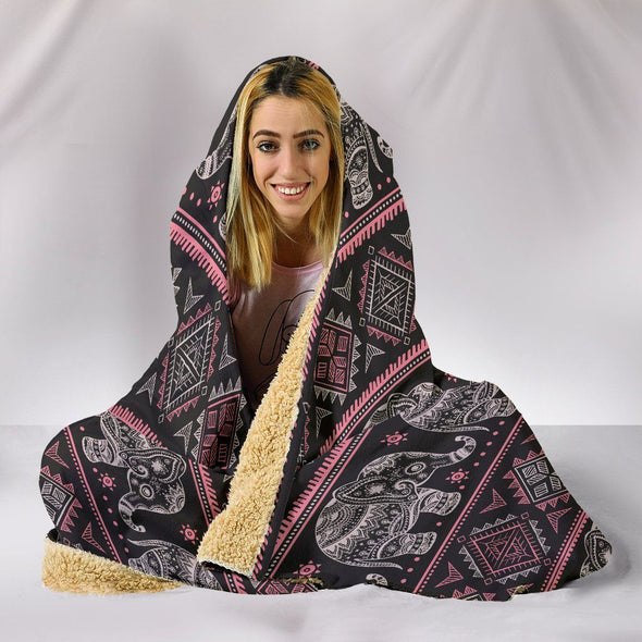 Ethnic Mandala Elephant Hooded Blanket