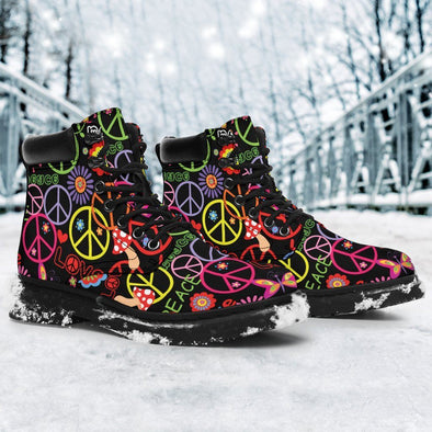 Colorful Peace Love Butterfly Performance Boots