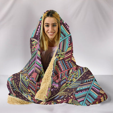 Boho Indian Feathers Hooded Blanket