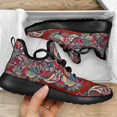 Limited Time 60% Red Paisley Mandala Mesh Knit Handcrafted Sneakers