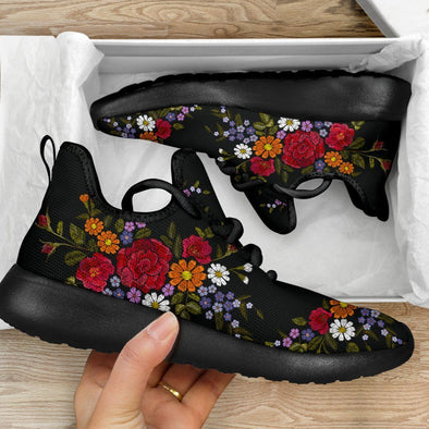 Limited Time 60% Artistic Embroidery Flower Mesh Knit Handcrafted Sneakers