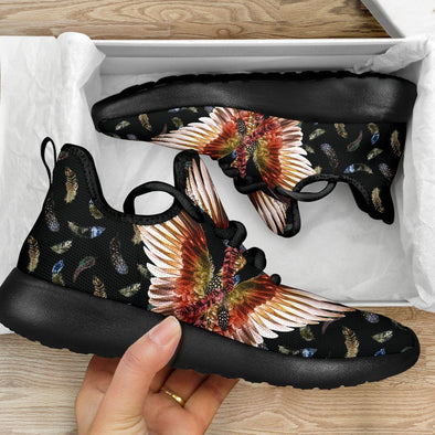 Limited Time 60% Feathered Black Eaagle Wings Mesh Handcrafted Sneakers