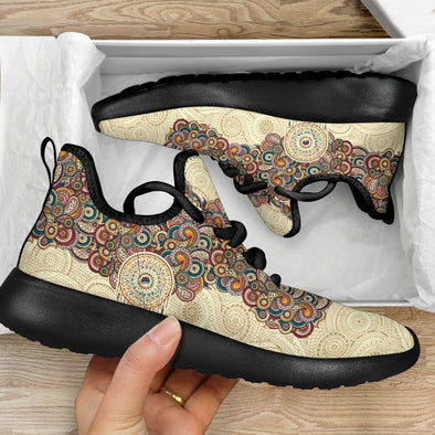 Limited Time 60% Beige Mandala Paisley Mesh-Knit Handcrafted Sneakers