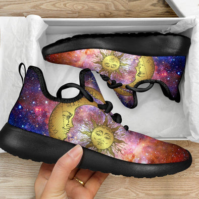 Handcrafted Galaxy Sun and Moon Mesh Knit Sneakers