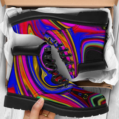 HandCrafted Psychedelic Abstract Art Performance Boots