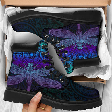 HandCrafted Purple Dragonfly Mandala Performance Boots