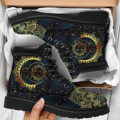 HandCrafted Artistic Gold Sun and Moon Performance Boots