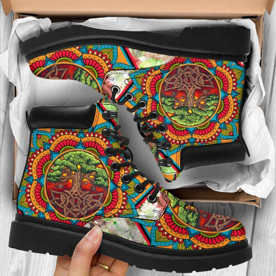 Artistic Tree of Life Mandala Performance Boots