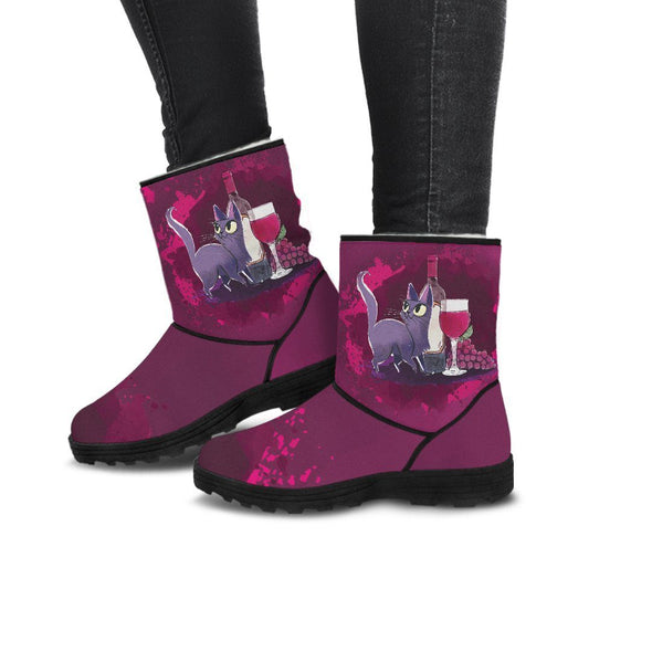 Cats and Wine Faux-Fur Boots