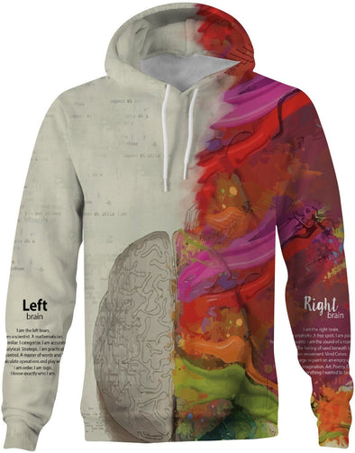 HandCrafted Left Brain Right Brain Hoodie