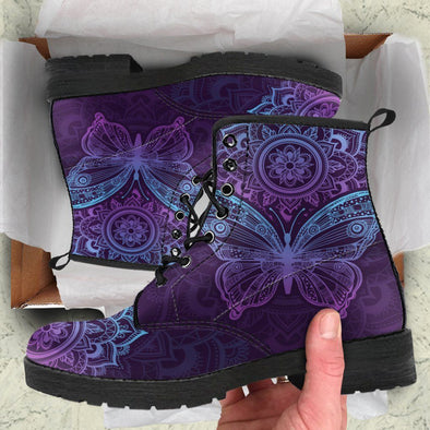 HandCrafted Purple Butterfly Mandala Boots.