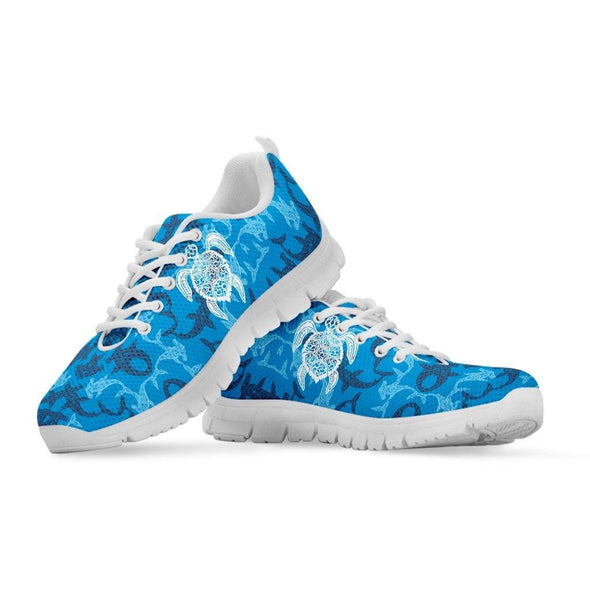 Blue Water Turtle and Shark Sneakers