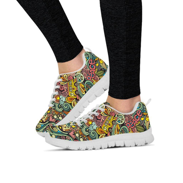 Hand Drawn Objects Hippie Sneakers