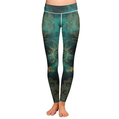 Green Sun and Moon Leggings